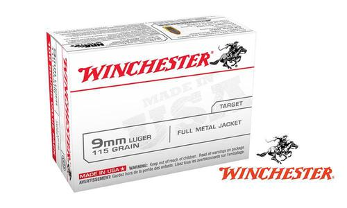 Winchester 9mm Value Pack, 115g FMJ, Box of 100 or $239.99 for 1000 Rounds #USA9MMVP?>