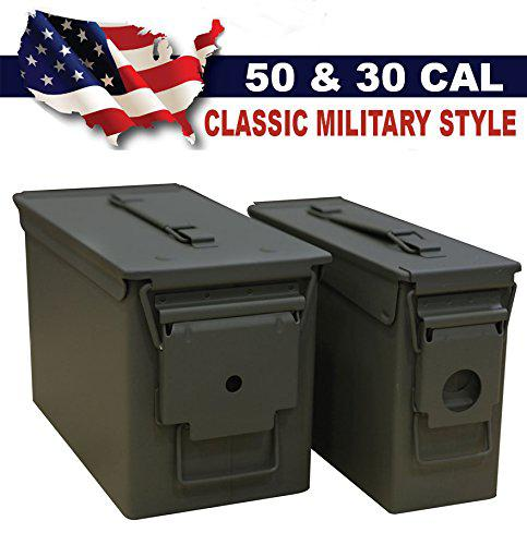 Heritage Security 30/50 Caliber Metal Ammo Cans Steel Military Style 2 Pack?>