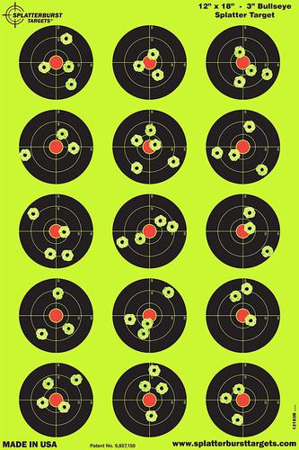 Splatterburst Targets - 12 x 18 inch - 3 inch Bullseye Reactive Shooting Target - Shots Burst Bright Fluorescent Yellow Upon Impact - Gun - Rifle - Pistol - Airsoft - BB Gun - Air Rifle?>