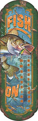 Rivers Edge Products Fish On Tin Thermometer?>
