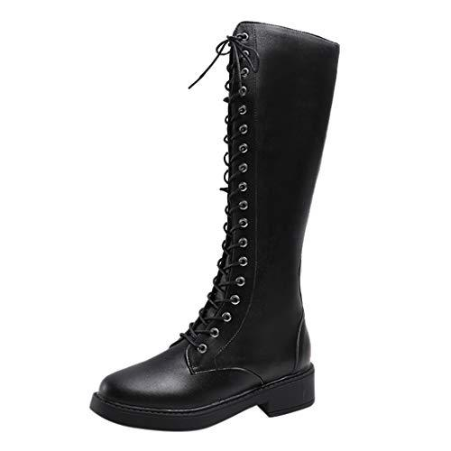 Jesper Women's Round Toe Lace-up Knee-High Boots Ladies Fasion Faux Leather Combat Booties Low Heel?>