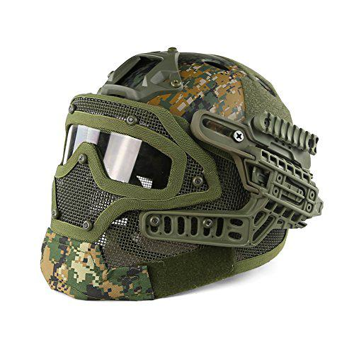 PJ Type Fast Molle Airsoft and Paintball Tactical Protective Fast Helmet ABS Tactical Mask with Goggle for Airsoft Paintball WarGame CS?>
