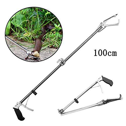 Snake Tongs, Professional Snake Catcher, Stainless Steel Reptile Grabber, Wide Jaw Handling Tool, Includes Non-Slip Handle,100 cm?>