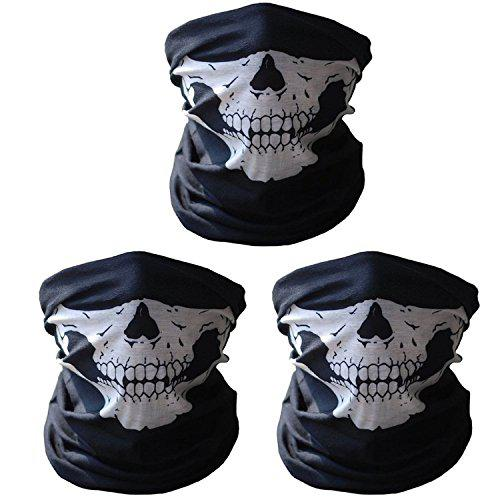 3 Pack Festival Skull Face Mask Stretchable Windproof Half Facemask Headwear Motorcycle Biker Cycling Riding Mask?>