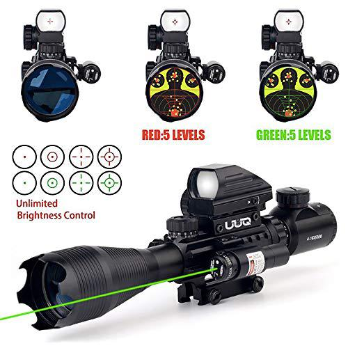 UUQ 4-16x50EG Tactical Rifle Scope Red/Green Illuminated Range Finder Reticle with Green Laser and Multi Optical Coated Holographic Dot Sight (12 Month Guarantee)?>