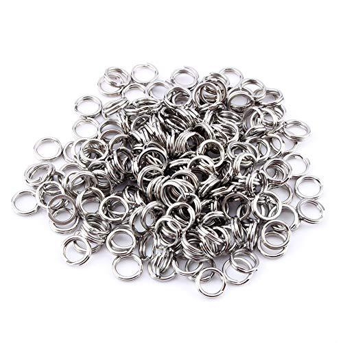200Pcs Stainless Steel Fishing Solid Snap Split Ring Lure Tackle Connector Double Loop Split Rings Kits?>