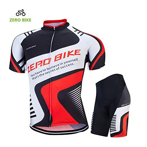 ZEROBIKE® Mens Breathable Short Sleeve Cycling Jersey Padded Shorts Quick Dry?>
