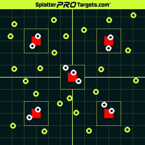 50 Pak - 12x12 Made in Canada Splatter Targets. Shots Burst with Bright Halo Upon Impact. Instantly See Your Shots.?>