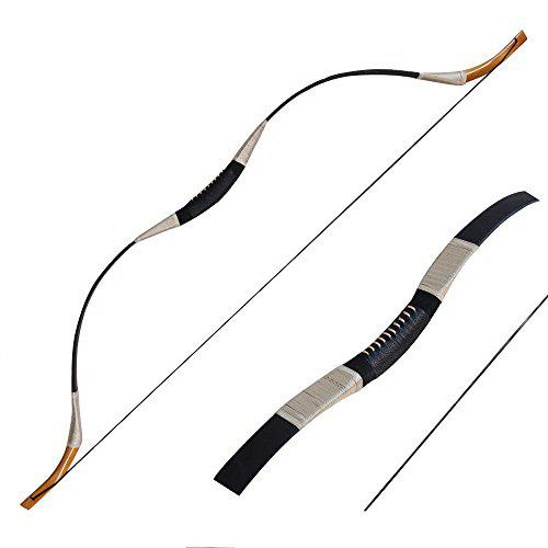 IRQ Handmade Traditional Longbow One Piece Recurve Bow Pigskin Mongolian Bow Set Horsebow+3Finger Glove Archery+Arm Guards+Bow Stringer Draw Weight 30-65lbs Black?>