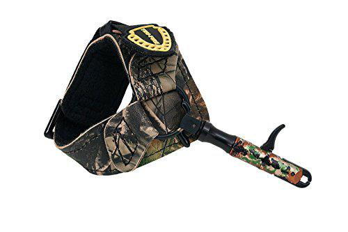 TruFire Edge Buckle Foldback Adjustable Archery Compound Bow Release - Wrist Strap Foldback Design - Black Camo?>
