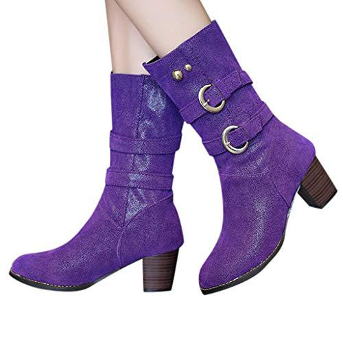 Jesper Womens Retro Frosted Suede Mid Calf Riding Winter Snow Boots Chunky Heel with Buckle Strap?>