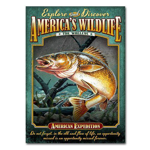 American Expedition Walleye Tin Cabin Sign?>