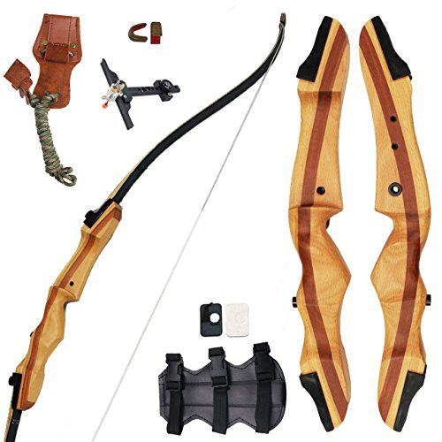 "SinoArt 62"" Recurve Bow Wooden Takedown Archery Bow 20 25 30 35 40lbs Draw Wight Included Arrow Rest Pad Stringer Tool String Nocks for Right and Left Hand?>"
