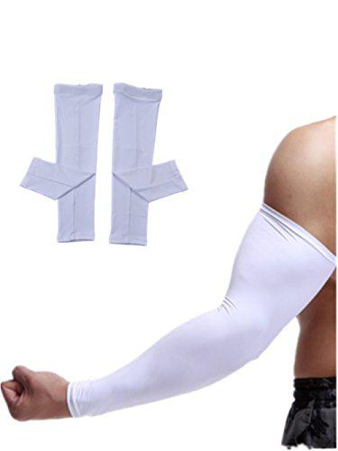 Sunland Compression Arm Sleeves Long Arm Cover Sleeves UV Protection Sun Sleeves for Men Women Sunblock Protective Sports Gloves Running Golf Cycling Basketball Driving Fishing 2 Pairs White XXL?>