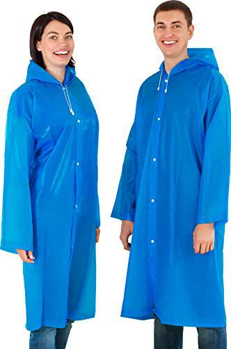 Leger sport Portable Rain Coat with Drawstring for Extreme Protection - Reusable Rain Ponchos for Adults with Hoods and Sleeves - Unisex Waterproof EVA Material Raincoat - Blue?>