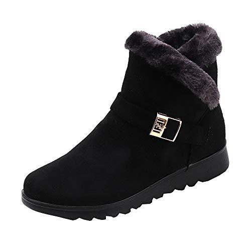 Theshy Women's Winter Fashion Ankle Boots Plus Velvet High-top Warm Flat Snow Boots?>