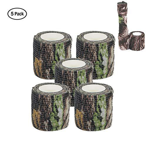 Camo Wrap Tape Military Army Camouflage Tape Cling for Shotguns Hunting Camping, Self-Adhesive Protective Stretch Bandage Roll, Non-Woven Fabric, 15 ft Length x 2 inch Width, 5-Pack?>