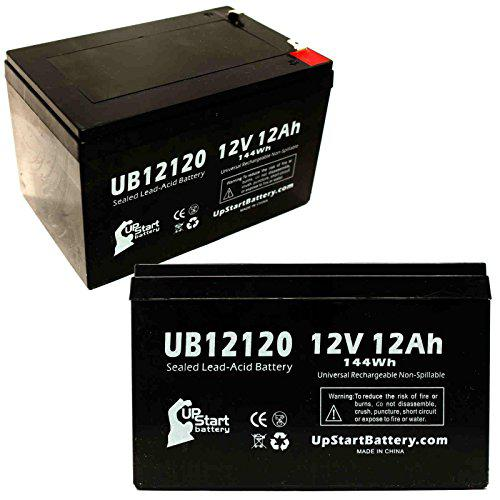 2X Pack - E-Scooter 24 Volt 250 Watt Battery - Replacement for UB12120 Universal Sealed Lead Acid Battery (12V, 12Ah, 12000mAh, F1 Terminal, AGM, SLA) - Includes 4 F1 to F2 Terminal Adapters?>