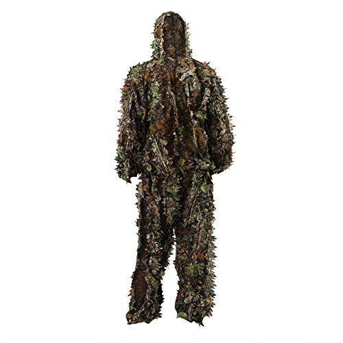 Zicac Outdoor 3D Leafy Leaves Camo Camouflage Clothing Jungle Woodland Hunting Ghillie Suit Free Size?>