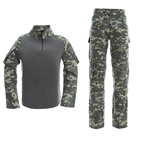 Men's Tactical Shirt and Combat Pants Set Long Sleeve 1/4 Zip T-Shirt Trousers for Military Hunting?>