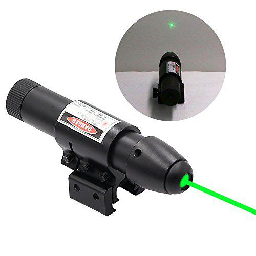 Higoo Green Laser Dot Sight, Hunting Gun Sight Laser Rifle Aiming Dot Scope with Pressure Switch Battery & Restock Box?>