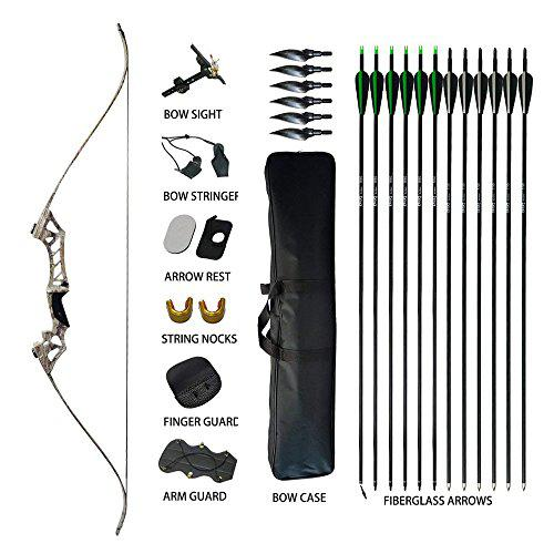 "Tongtu 58"" Hunting Recurve Bow and Arrows for Adults Archery Set Takedown Bow Kit 30 35 40 45 50 55 60 65 70lb Aluminum Alloy Riser Right Hand (Camouflage, 30LBS)?>"