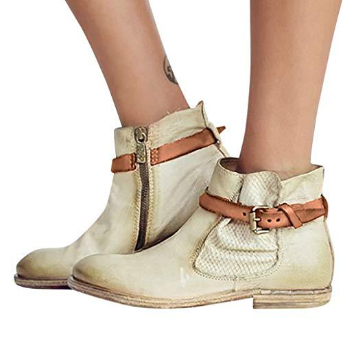Jesper Women Vintage Concise Block Low Heel Zipper Chelsea Ankle Boot Dress Buckle Strap Western Cowboy Boots?>