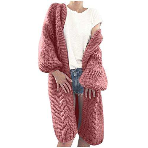 Midress Women's Cardigan Knit Coats Casual Long Sleeve Solid Color Thick Warm Sweater with Pockets Fashion Lantern Sleeve Outwear?>