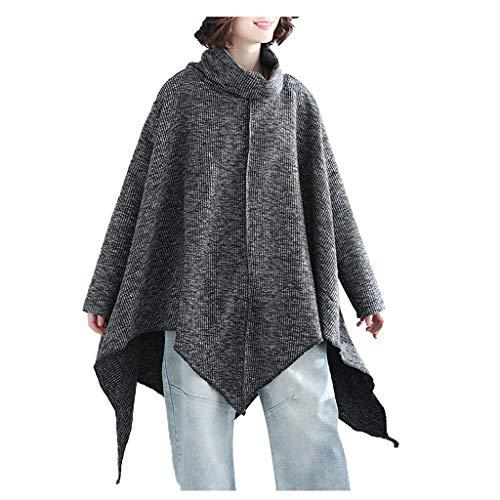 Wenini Women Pullover Shawl Sweater Bat Sleeve Cape Cloak Jacket Coat Shoulder Knitting Top?>
