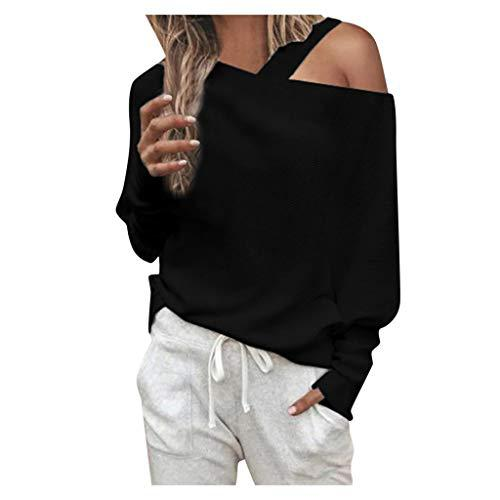 Bravetoshop Women's Comfy Cold Shoulder Shirt Long Sleeve Solid T-Shirt Blouse Tops?>