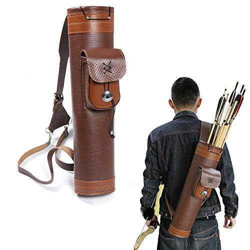 TOPARCHERY Traditional Shoulder Back Quiver Bow Leather Arrow Holder with Large Pouch Handmade Straps Belt Bag Brown?>