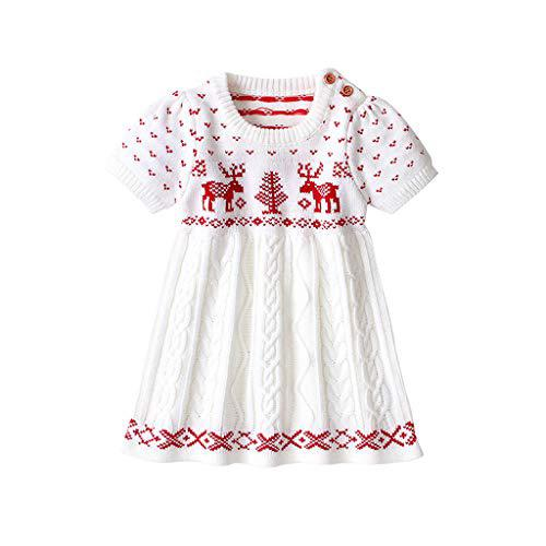 Wenini Toddler Kids Baby Girls Christmas Knit Sweater Dress Princess Party Dress Xmas Outfits?>