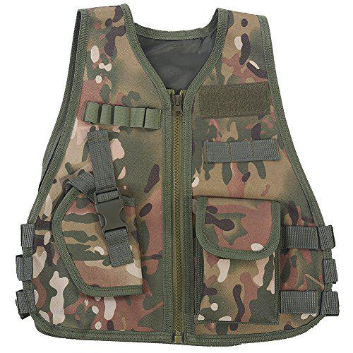 Children Tactical Vest, Camouflage Type Kids Security Guard Waistcoat Cs Field Combat Training Military Army Vest?>