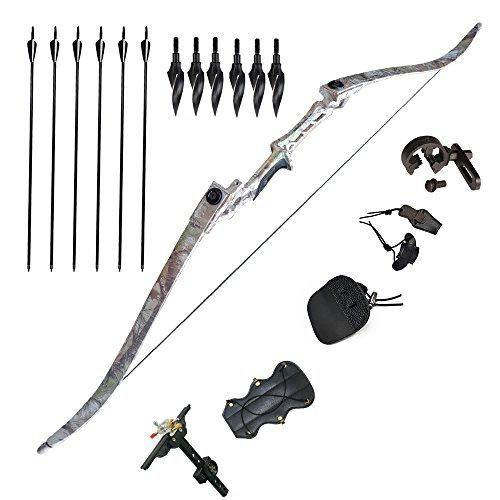 "Tongtu 57"" 50lbs Takedown Recurve Bow and Arrows Adult Archery Set Right Hand with Sharpened Broadheads for Targeting Practice Hunting Shooting Games?>"
