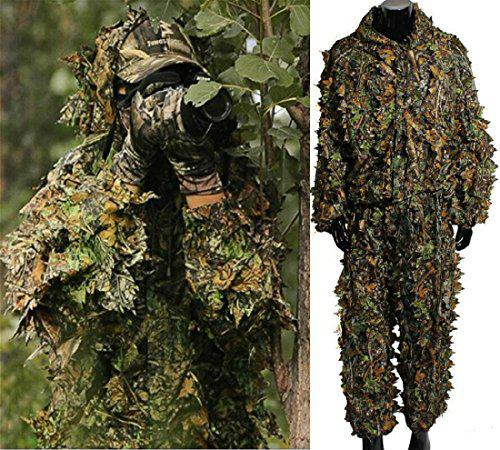 Isafish Ghillie Suits Hunting Camouflage Maple Leaf Hooded 3D Bionic Training Uniform Military Sniper Cloak Camouflage Clothing Hunting Shooting Airsoft Wildlife Photography or Halloween?>