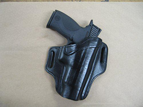 S&W Smith & Wesson M&P 9mm 40 Leather 2 Slot Molded Pancake Belt Holster Black RH?>