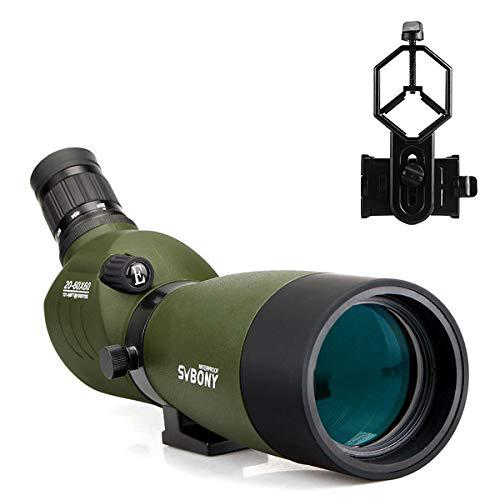 SVBONY SV14 20-60x60 Spotting Scope with Phone Adapter BAK4 Waterproof FMC Lens 45 Degree Angled Eyepiece for Target Shooting Hunting Bird Watching?>
