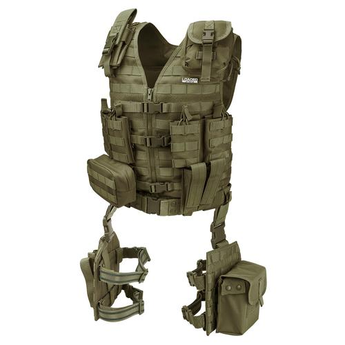 BARSKA Loaded Gear VX-100 Tactical Vest and Leg Platforms (OD Green) BI12330 Model Number: BI12330?>