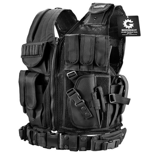 BARSKA Loaded Gear Plus Size Tactical Vest VX-200 (Black) Right Hand BI13196 Model Number: BI13196?>