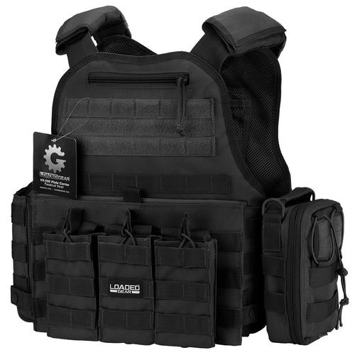 BARSKA VX-500 Combo Plate Carrier Vest with Mag and Medical Pouch (Black) BI12260-C1 Model Number: BI12260-C1?>