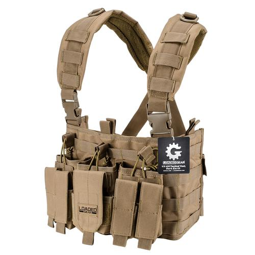 BARSKA Tactical Chest Rig VX-400 Loaded Gear Tan (Flat Dark Earth) BI12792 Model Number: BI12792?>