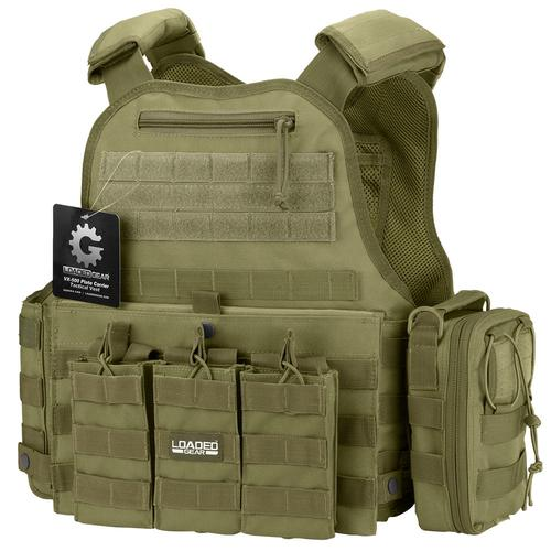 BARSKA VX-500 Combo Plate Carrier Vest with Mag and Medical Pouch (OD Green) BI12290-C1 Model Number: BI12290-C1?>