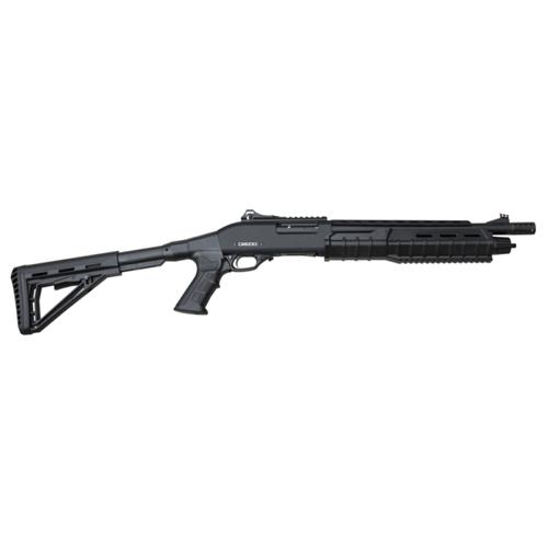 "Canuck Commander Pump Shotgun 12 Gauge, 3"", 14"" Barrel, Telescoping Pistol Grip, Black, 4+1 Rnds, 3 Mobil Chokes, Fibre Optic Sight, Black?>"