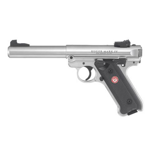 "Ruger Mark IV Target Semi-Auto Pistol, .22LR, 5.5"" Barrel, Black Syn Grip, Stainless Finish, 10 Round, Adjustable Sights, 40103?>"