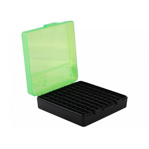 MTM Flip-Top Ammo Box, 380 ACP, 9mm Luger, 100-Round Plastic, Black/Green?>
