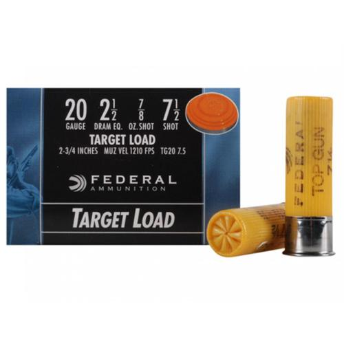 "Federal Top Gun Ammunition 20 Gauge 2-3/4"" 7/8 oz #7.5 Shot - Box of 25?>"