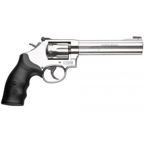 "Smith & Wesson 617 Rimfire Revolver .22 LR 6"" Barrel 6 Rounds Black Rubber Grips Stainless Steel Finish 160568?>"