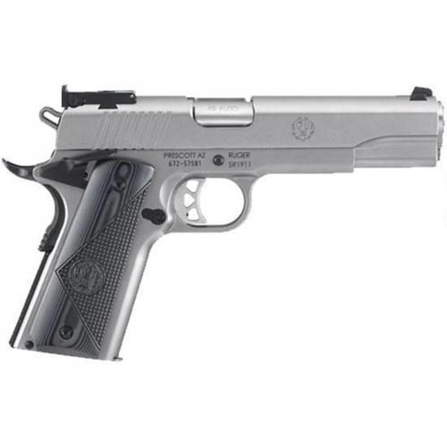 "Ruger SR1911 Target .45 ACP Semi-Auto Pistol 5"" Barrel 8 Rounds Bomar-Style Sights G10 Grips Stainless Finish 6736?>"