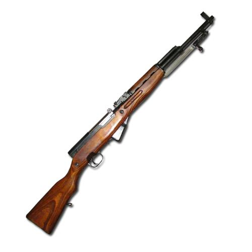 Russian SKS Surplus Semi-Auto Rifle, 7.62x39mm, 5 Rounds, Wood Stock?>