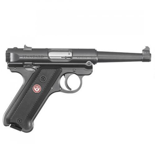 "Ruger Mark IV Standard Semi-Auto Pistol .22LR 4.75"" Barrel 10 Rounds Fixed Sights Checkered Synthetic Grips Aluminum Frame Blued Finish 40104?>"